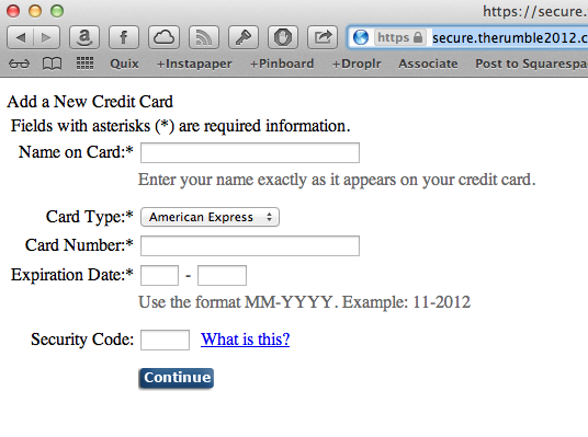 Prompt for credit card information